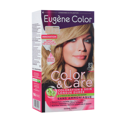 Kit de Coloration - Blond Clair Nude 8*0 - Color & Care - Eugène Color