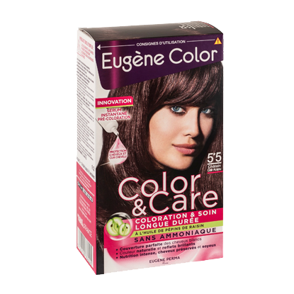 Kit de Coloration - Châtain Clair Acajou 5*5 - Color & Care - Eugène Color